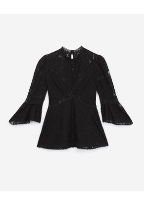 The Kooples - black lace top with crew neck - bla