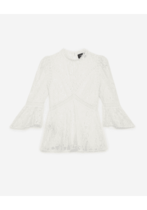 The Kooples - ecru lace top with crew neck - ecr