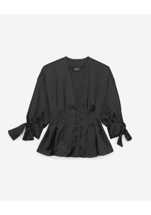 The Kooples - oversized black shirt with bow sleeves - bla