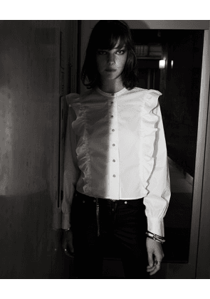The Kooples - white cotton shirt with frills - whi