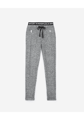 The Kooples - fleece grey joggers with signature stripe - gry