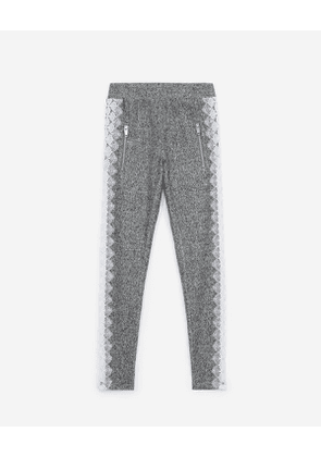 The Kooples - grey fleece joggers with lace stripes - gry
