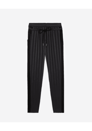 The Kooples - loose black viscose trousers with stripes - bla