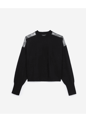 The Kooples - black cashmere sweater with chain mail detail - bla