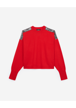The Kooples - red cashmere sweater with chain mail detail - red