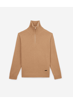The Kooples - camel zip wool sweater with leather yoke - camel