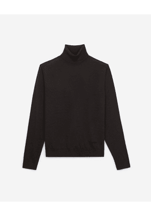 The Kooples - leather detail brown roll-neck wool sweater - brown