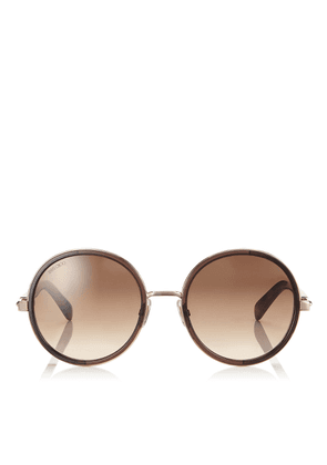 ANDIE Havana Brown Acetate Round Framed Sunglasses with Gold Silver Crystal Fabric Detailing