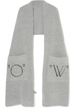 Off-White - Printed Knitted Scarf - Gray