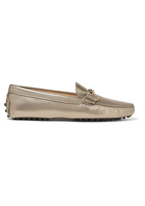 Tod's - Gommino Embellished Metallic Leather Loafers - IT35