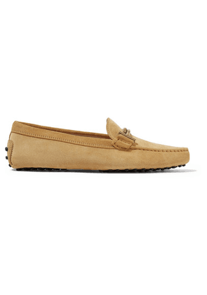 Tod's - Gommino Embellished Suede Loafers - Marigold
