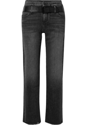 RtA - Dexter Belted Frayed High-rise Straight-leg Jeans - Black
