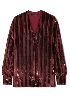 Sally LaPointe - Striped Sequinned Chiffon Blouse - Claret