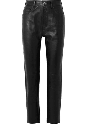RE/DONE - 50s Cigarette Cropped Straight-leg Leather Pants - Black