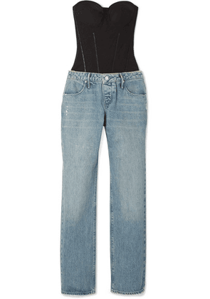 RtA - Ames Satin And Denim Jumpsuit - Mid denim