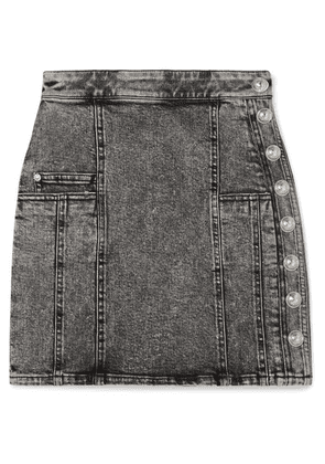Balmain - Button-embellished Acid-wash Denim Mini Skirt - Gray