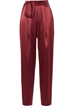 Sally LaPointe - Belted Satin Tapered Pants - Claret