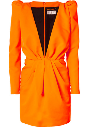 SAINT LAURENT - Gathered Neon Twill Mini Dress - Orange
