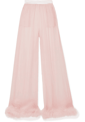 Dolce & Gabbana - Feather And Satin-trimmed Silk-chiffon Wide-leg Pants - Baby pink
