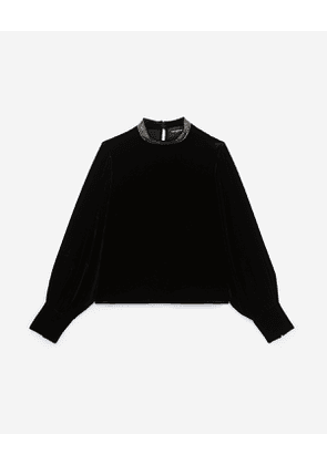 The Kooples - black velvet top with chain mail-effect neck - bla