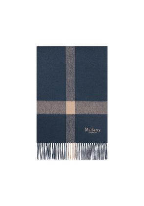 Mulberry Large Check Scarf in Dark Navy and Icy Pink Lambswool