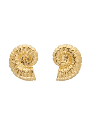 Gold-Plated Ammonite Shell Stud Earrings