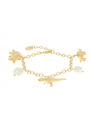 Gold-Plated Dinosaur And Baroque Pearl Charm Bracelet