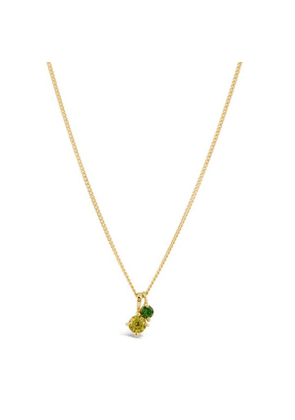 Gold Vermeil Gem Drop Peridot And Tsavorite Duo Pendant Necklace