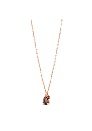 Rose Gold Vermeil Gem Drop Smoky Quartz And Rhodolite Pendant Necklace