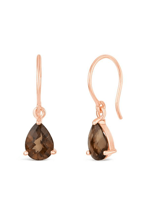 Rose Gold Vermeil Gem Drop Smoky Quartz Drop Earrings
