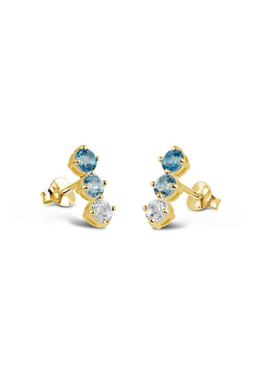 Gold Vermeil Gem Drop Trilogy Topaz Bar Stud Earrings