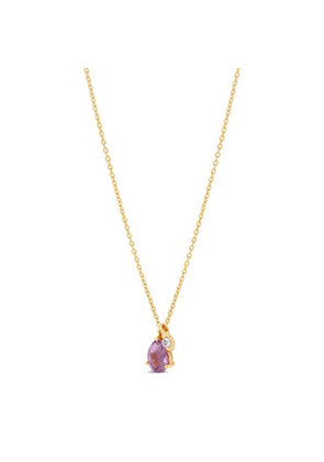 Gold Vermeil Gem Drop Amethyst And White Sapphire Pendant Necklace