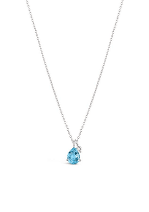 Silver Gem Drop Blue Topaz And White Sapphire Pendant Necklace