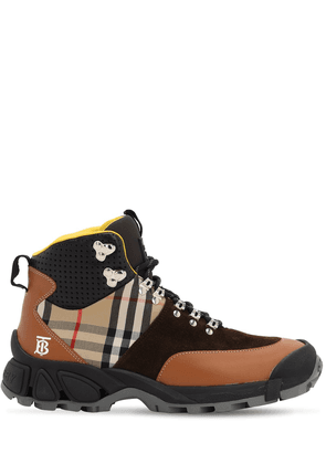 40mm Check Leather & Cotton Hiking Boots