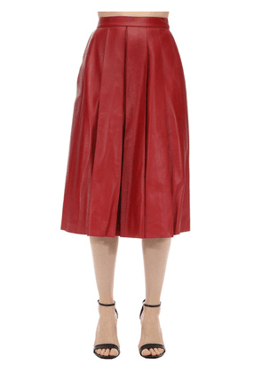 Flared Leather Midi Skirt
