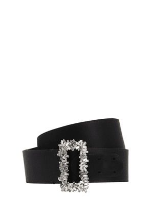 50mm Crystal Buckle Silk Satin Belt