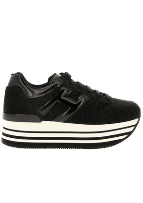 Sneakers Sneakers 283 Hogan With Platform In Glitter Crust Leather With Big H In Patent