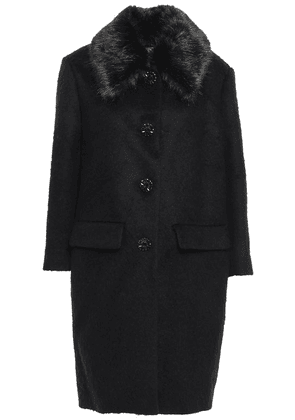 Kate Spade New York Faux Fur-trimmed Brushed-felt Coat Woman Black Size 00