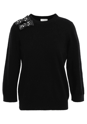 Kate Spade New York Bow-embellished Knitted Sweater Woman Black Size L