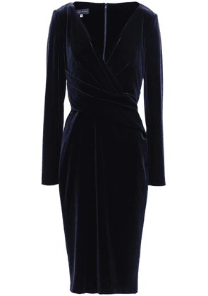 Talbot Runhof Wrap-effect Velvet Dress Woman Navy Size 36