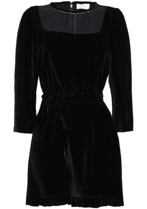 Kate Spade New York Georgette-paneled Velvet Playsuit Woman Black Size 4