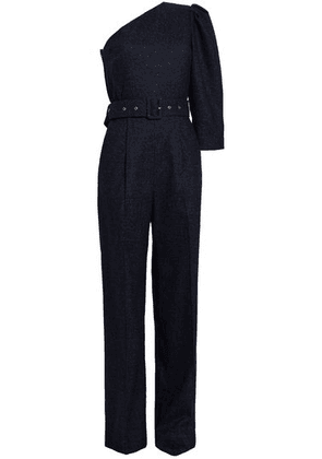 Anna October One-shoulder Belted Wool-blend Bouclé Jumpsuit Woman Navy Size XS