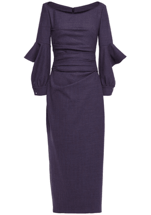 Talbot Runhof Draped Cutout Crepe Midi Dress Woman Purple Size 34