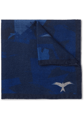 The Workers Club - Printed Wool-twill Pocket Square - Indigo