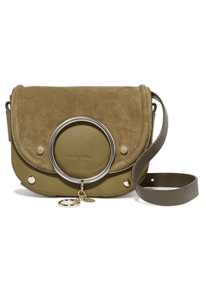 See By Chloé - Mara Suede And Textured-leather Shoulder Bag - Army green
