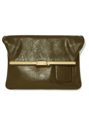 Bienen-Davis - Pm Glossed Textured-leather Clutch - Army green