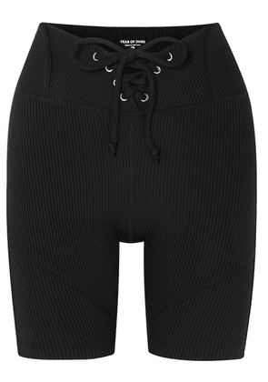 Year of Ours - Hockey Lace-up Ribbed Stretch Shorts - Black