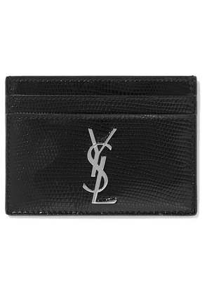 SAINT LAURENT - Lizard-effect Glossed-leather Cardholder - Black
