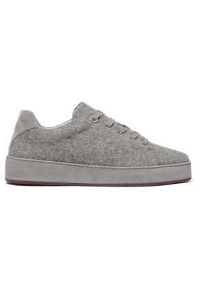 Loro Piana - Suede-trimmed Mélange Brushed-cashmere Sneakers - Gray
