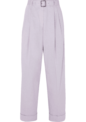 Dries Van Noten - Belted Cotton-twill Tapered Pants - Lilac